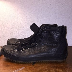 Converse All-Stars black leather high tops